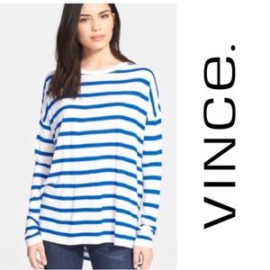 Vince Blue and White Stripe Long Sleeve Tee